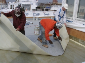 Laying the Duradek Vinyl Membrane